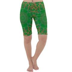 Summer Landscape In Green And Gold Cropped Leggings
