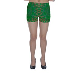 Summer Landscape In Green And Gold Skinny Shorts