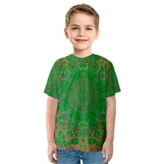 Summer Landscape In Green And Gold Kids  Sport Mesh Tee