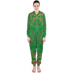 Summer Landscape In Green And Gold Hooded Jumpsuit (Ladies)