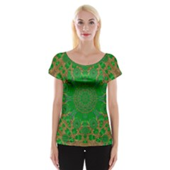 Summer Landscape In Green And Gold Women s Cap Sleeve Top