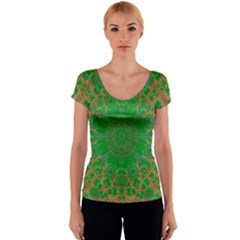 Summer Landscape In Green And Gold Women s V-Neck Cap Sleeve Top