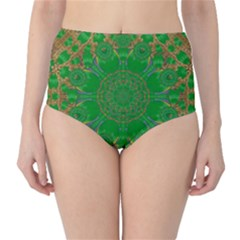 Summer Landscape In Green And Gold High-Waist Bikini Bottoms