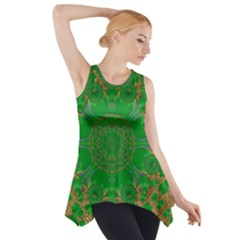 Summer Landscape In Green And Gold Side Drop Tank Tunic