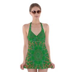 Summer Landscape In Green And Gold Halter Swimsuit Dress