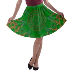 Summer Landscape In Green And Gold A Line Skater Skirt