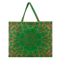 Summer Landscape In Green And Gold Zipper Large Tote Bag