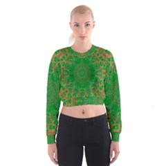 Summer Landscape In Green And Gold Cropped Sweatshirt