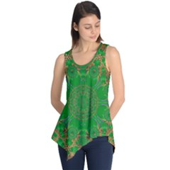 Summer Landscape In Green And Gold Sleeveless Tunic