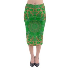 Summer Landscape In Green And Gold Midi Pencil Skirt