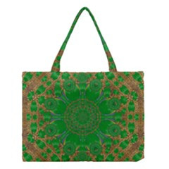 Summer Landscape In Green And Gold Medium Tote Bag