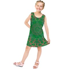 Summer Landscape In Green And Gold Kids  Tunic Dress