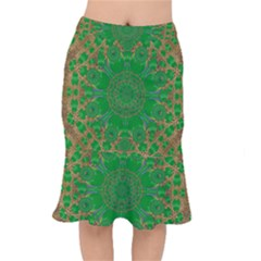 Summer Landscape In Green And Gold Mermaid Skirt