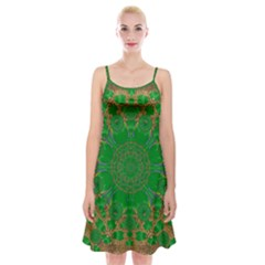 Summer Landscape In Green And Gold Spaghetti Strap Velvet Dress