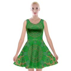 Summer Landscape In Green And Gold Velvet Skater Dress