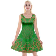 Summer Landscape In Green And Gold Reversible Velvet Sleeveless Dress