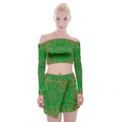 Summer Landscape In Green And Gold Off Shoulder Top with Skirt Set