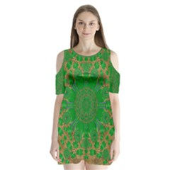 Summer Landscape In Green And Gold Shoulder Cutout Velvet  One Piece