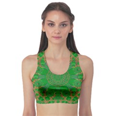 Summer Landscape In Green And Gold Sports Bra