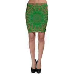 Summer Landscape In Green And Gold Bodycon Skirt