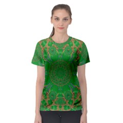 Summer Landscape In Green And Gold Women s Sport Mesh Tee