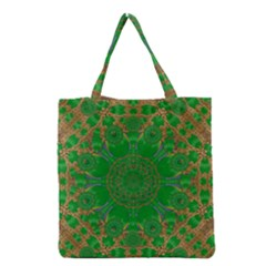 Summer Landscape In Green And Gold Grocery Tote Bag