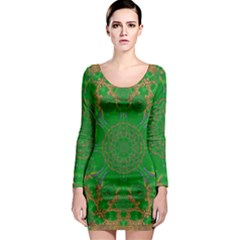 Summer Landscape In Green And Gold Long Sleeve Bodycon Dress