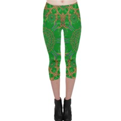 Summer Landscape In Green And Gold Capri Leggings