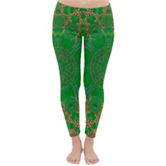 Summer Landscape In Green And Gold Classic Winter Leggings