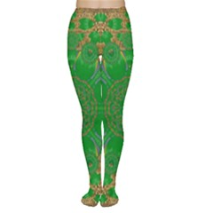 Summer Landscape In Green And Gold Women s Tights