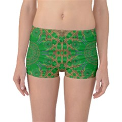 Summer Landscape In Green And Gold Boyleg Bikini Bottoms