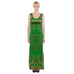 Summer Landscape In Green And Gold Maxi Thigh Split Dress