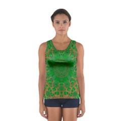 Summer Landscape In Green And Gold Women s Sport Tank Top