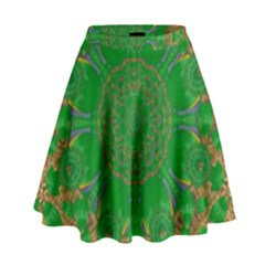 Summer Landscape In Green And Gold High Waist Skirt