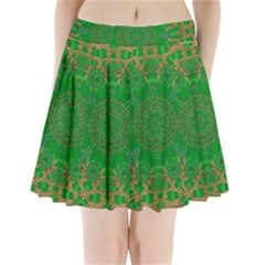 Summer Landscape In Green And Gold Pleated Mini Skirt