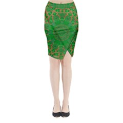 Summer Landscape In Green And Gold Midi Wrap Pencil Skirt