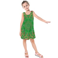 Summer Landscape In Green And Gold Kids  Sleeveless Dress
