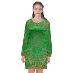 Summer Landscape In Green And Gold Long Sleeve Chiffon Shift Dress
