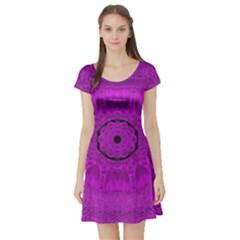Purple Mandala Fashion Short Sleeve Skater Dress