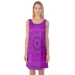 Purple Mandala Fashion Sleeveless Satin Nightdress