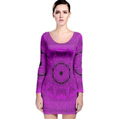 Purple Mandala Fashion Long Sleeve Velvet Bodycon Dress
