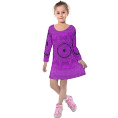 Purple Mandala Fashion Kids  Long Sleeve Velvet Dress