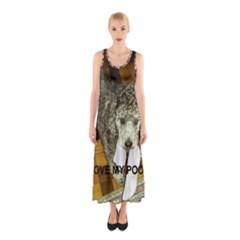 Poodle Love W Pic Silver Sleeveless Maxi Dress