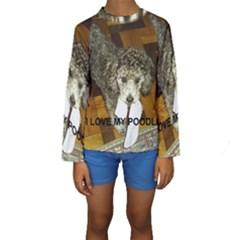 Poodle Love W Pic Silver Kids  Long Sleeve Swimwear