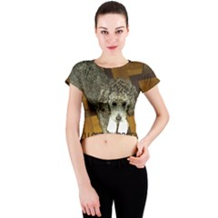 Poodle Love W Pic Silver Crew Neck Crop Top