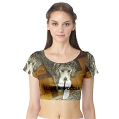 Poodle Love W Pic Silver Short Sleeve Crop Top (Tight Fit)