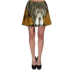 Poodle Love W Pic Silver Skater Skirt
