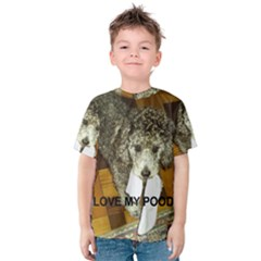 Poodle Love W Pic Silver Kids  Cotton Tee