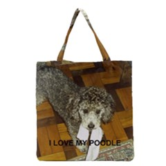 Poodle Love W Pic Silver Grocery Tote Bag