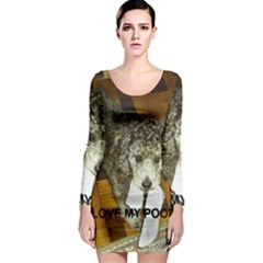 Poodle Love W Pic Silver Long Sleeve Bodycon Dress